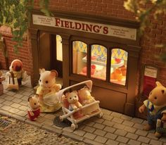 Sylvanian Families out and about.