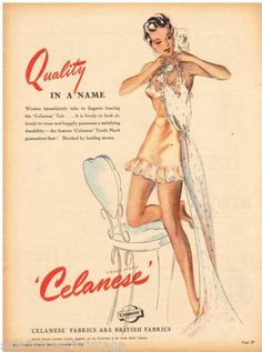 CELANESE AD LINGERIE FABRICS FASHION Vintage Advertising 1948 Original ADVERT