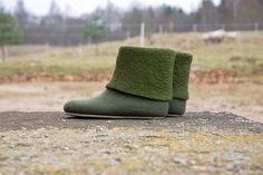 Women wool boots, felted wool slippers, olive, blue, red