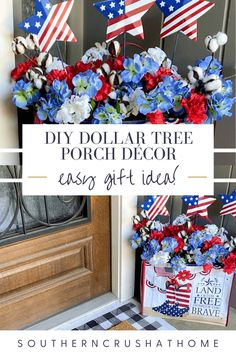 This fun, easy, and inexpensive front porch décor can be made with just a few items from your local Dollar Tree! Check out my DIY tutorial for details and directions.  #dollartree #decor #diytutorial #frontporchdecor #patrioticdecor Porch Decorating, Decorating Ideas, Decor Ideas, Craft Ideas, Fun Diy Crafts, July Crafts, Front Door Decor, Front Porch, Fourth Of July Decor