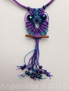 Purple and Blue Macramé Owl Necklace:  www.angelcakejewellery.com