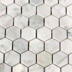 Item #: White Carrara Hexagon Mosaic (H) Manufacturer: Nuit Grave Series: Hexagon Mosaics Color Group: White / Cream Retail Price:  $15.90 Our Price:  $9.66  per Pc.    Savings: 40%