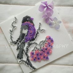 Bird and flowers - Hama (perler) beads, by Vodevila
