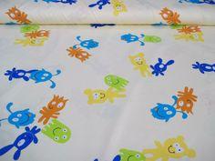 """Linea """"Mostrini"""": #tessuto in rasatello da arredamento per #bimbo e #bimba, colorazione base giallo chiaro con mostrini in varie colorazioni."""