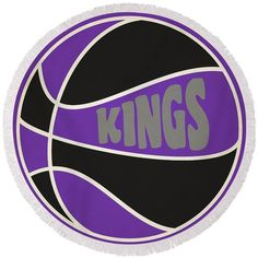 Kings Round Beach Towel featuring the photograph Sacramento Kings Retro Shirt by Joe Hamilton