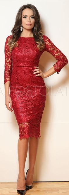 Red Lace Midi Dress by Rock & Roses