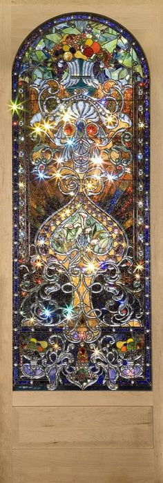 Beautiful beveled glass door, 11 feet tall and almost custom bevels. Made by Mattei Glass Studio in Colorado. Leaded Glass, Beveled Glass, Stained Glass Art, Stained Glass Windows, Glass Door, Window Glass, Art Nouveau, Mosaic Art, Mosaic Glass