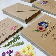 Floral Wedding Invitation. Rustic wedding invites with real