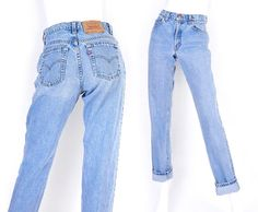Vintage 90s Levis 550 High Waisted Mom Jeans - Size 7 LONG - Stone Washed Medium Blue Tapered Loose Relaxed Fit Womens Jeans -  28 Waist