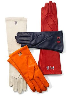 Monogrammed leather gloves