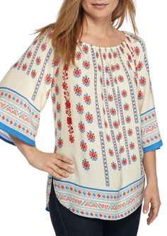 e72aa3b49a655 New Directions Women s Plus Size 1X Printed 3 4 Bell Sleeve Peasant Blouse  Top
