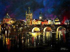Czech Painter Milan Čihák - Charle´s Bridge Night