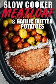 This slow cooker meatloaf with garlic butter potatoes is such a quick and easy recipe! Just mix, throw it in the crock pot and forget about it until dinner time! Top it off with the best brown sugar sauce and it's a meal you're going to want again and aga