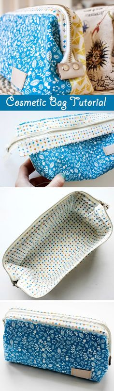 How to sew a cosmetics bag with a frame. Tutorial in pictures. Как сшить косметичку с каркасом. http://www.handmadiya.com/2015/09/cosmetic-bag-with-frame-tutorial.html