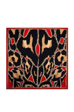 Givenchy: Leopard Scarf in Red