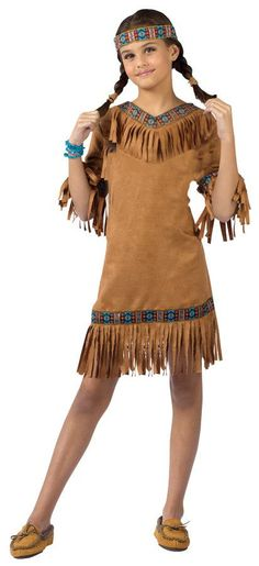 Fringed suede look dress with ribbon trim and headband. Size small 4-6 Fringe is around v-neckline instead of across the chest.