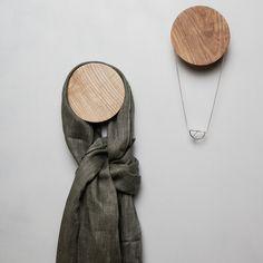 Áras wall hooks by Matt Jones Matt Jones, Irish Design, Hanging Necklaces, Textures And Tones, House Gifts, Natural Texture, Jewellery Display, Wall Hooks, Wood Grain