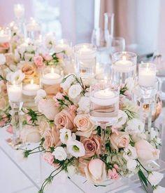 Iluminação com velas - Deor Romantica - Gorgeous blush pink roses and tea lights, what a perfect combination!