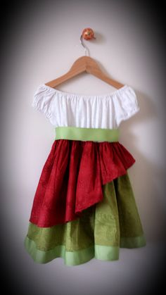 Girls Red and Green Holiday Peasant Dress by TwirlandTango on Etsy, $65.00