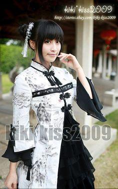 China Waloli Cheongsam Ink Fairy Han Fu Black White Cosplay Kimono Lolita Dress   eBay