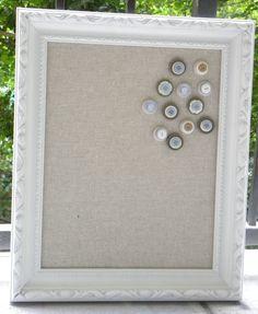 Framed Cork Board, fabric covered bulletin board, jewelry organizer