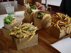 Organic cheeseburgers and truffle fries. Larkburger. Edwards, Colorado.