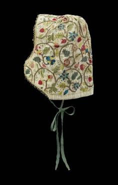 Woman's coif made in England late16C - 17C @ MFA Boston.  Linen with silk and metallic thread embroidery