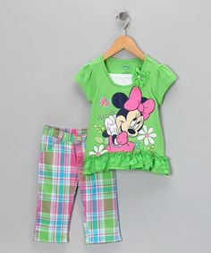 So cute! Take a look at this Green Minnie Mouse Ruffle Top & Pants - Toddler by Disney on #zulily today!