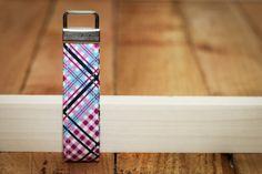 Purple Plaid Keychain Fabric Loop Purple, White, Navy Blue Key Chain