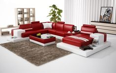 VGEV6137-Divani Casa 6137 Modern Red and White Bonded Leather Sectional SofaFinishing: Red and White Bonded LeatherDimensions:1 Seater: W55
