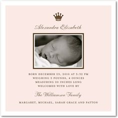 Girl Photo Birth Announcements - Royal Baby: Chenille by Tiny Prints