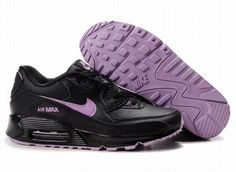new product 50604 427fa Nike Air Max 90 Running Sport Shoes Womens with Color Black Violet Shock