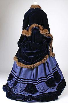 1874 ... Ensemble w/ jacket ... Silk & Fur ... French (Paris) ... at The Metropolitan Museum of Art ... photo 5 by terri