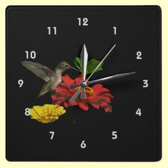 #Hummingbird on #Zinnias #Clock > @Brr Ittany's Place Lovely Products on Zazzle! http://www.zazzle.com/hummingbird_on_zinnias_clock-256212561768468905#