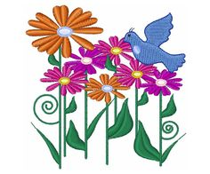 Free Embroidery Design: Flower and Bird - I Sew Free