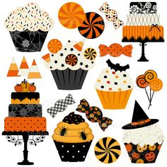 Halloween Cakes, Cupcakes and Candies Clip Art Set - Halloween printable digital clipart - instant d Retro Halloween, Theme Halloween, Halloween Cupcakes, Halloween Signs, Halloween Candy, Holidays Halloween, Halloween Crafts, Happy Halloween, Halloween Decorations