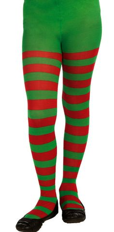 Child Red and Green Striped Tights Christmas Elf Girls Size Medium Christmas Elf Costume, Halloween Party Costumes, Galaxy Leggings, Striped Tights, Footless Tights, Nylon Stockings, Green Stripes, Holiday Outfits, Red Green