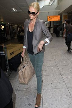 A lesson in keeping it simple and chic: blazer, skinny jeans, and done.  Getty Images  - ELLE.com