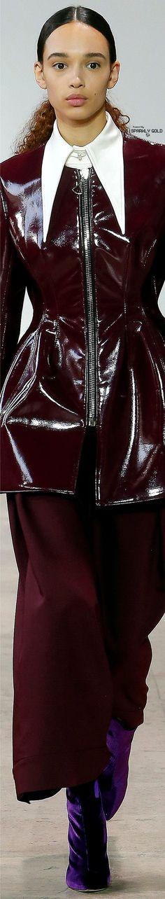 Ellery Fall 2017 RTW Catwalk Fashion, Fashion 2017, High Fashion, Winter Fashion, Burgundy Fashion, Raincoat Outfit, White Burgundy, Leather Design, Msgm