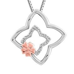 Silver and rose tone 0.05 ctw diamond flower pendant, chain included. PEN-SIL-1798