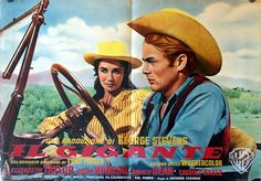 GIANT (1955) - Jett Rink (James Dean) takes  boss' new wife Leslie Benedict (Elizabeth Taylor) on a tour of Riata Ranch - Based on the novel by Edna Ferber - Produced & Directed by George Stevens - Warner Bros. - Lobby Card.