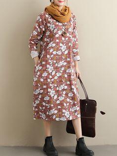 d894a04089c Plaid Floral Print Long Sleeve Loose Vintage Dresses is high-quality