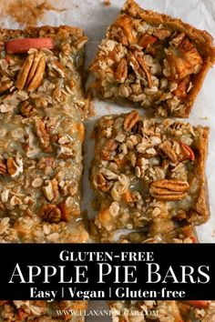 These apple pie bars are easy, gluten-free, and so tasty! Slice into a gooey salted caramel layer, and a perfect shortbread crust! An allergen friendly treat everyone will love for the holidays! #holidayrecipe #christmas #holidays #apple #vegan #glutenfree Apple Recipes Easy, Sugar Free Recipes, Vegan Recipes Easy, Bar Recipes, Snack Recipes, Cupcake Recipes, Baking Recipes, Healthy Vegan Desserts, Gluten Free Desserts