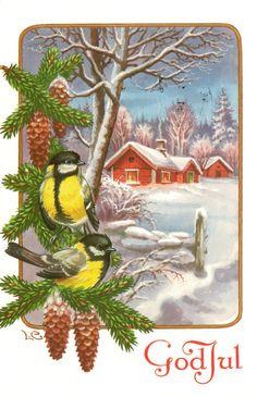 Art of Lars Carlsson Christmas Card Images, Christmas 2017, Christmas And New Year, Vintage Christmas, Merry Christmas, Norwegian Christmas, Scandinavian Christmas, Scandinavian Style, Christmas Printables