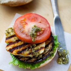 Grilled eggplant, halloumi cheese and pesto burgers - the perfect vegetarian burger for weekend and holiday grilling!