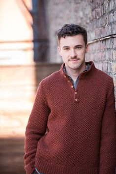 """Sawyer honeycomb stitch henley with collar by Julie Hoover. Shown in color """"Wool Socks"""". From Brooklyn Tweed's """"BT Men Volume 2"""" Collection. Photographed by Jared Flood. #btmenvolume2 #brooklyntweed #madeinUSA #shelteryarn #loftyarn #sawyer #pullover"""