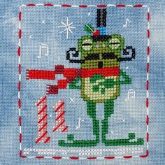 Animal Advent Calendar Day 11 Fitzwilliam Frog.  Counted Cross Stitch. 2016
