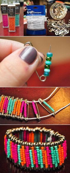 TOP DIY PROJECTS: Diy Beaded Safety Pin Bracelets