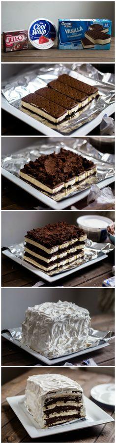 Easy Chocolate Vanilla Ice Cream Cake (with ice cream sandwiches) #AddCoolWhip #shop