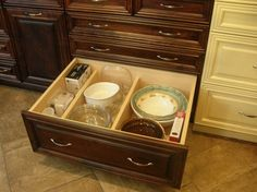 2nd floor - Kitchen - Range wall - lower cabinet drawers (E2-F2) - Horizontal stacked storage w/ dividers - daily use plates, bowls